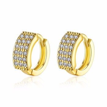 Luxury Top Quality Gold CZ Hoop Earrings Brincos Vintage Wedding Party Full Crystal Jewelry For Women