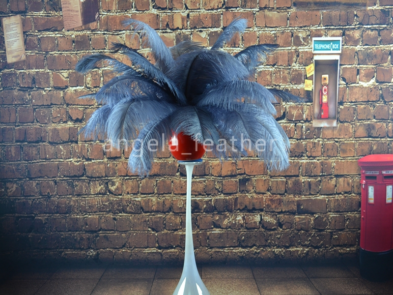 Wholasale-12-14inch 100 adet lot Gri Devekuşu Feather Plume, Düğün centerpieces masa dekorasyon