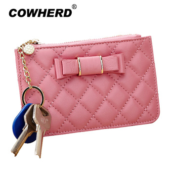 COWHERD brand original genuine leather women key chain wallet car key cases multifunction purse holder key bag coin purse