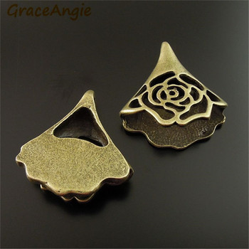 Wholesale Vintage Bronze Tone Hollow Flower Charms Pendants Handmade Jewelry Accessory 12PCS